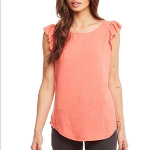 NWT Chaser peach flutter ruffle top S